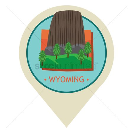 房屋地标 : Map pointer with wyoming state
