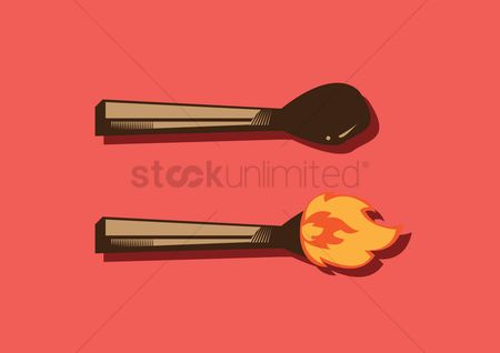 火花 : Match stick and a burning match stick