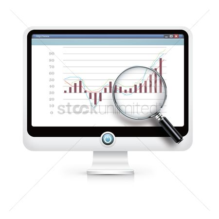 信息图表 : Monitor with magnifying glass