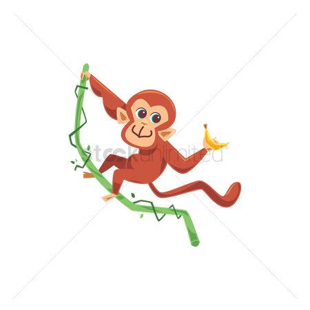 漫画 : Monkey hanging on branch