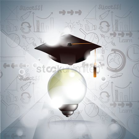 心脏 : Mortarboard with bulb