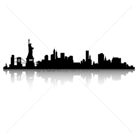 插图剪贴画 : New york skyline silhouette