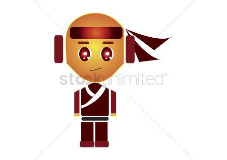 漫画 : Ninja character isolated on white background