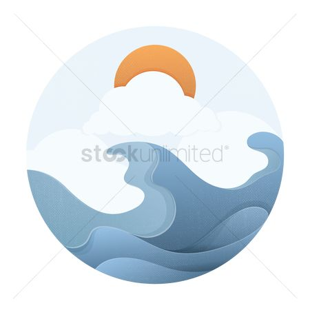 波 : Ocean waves with sun