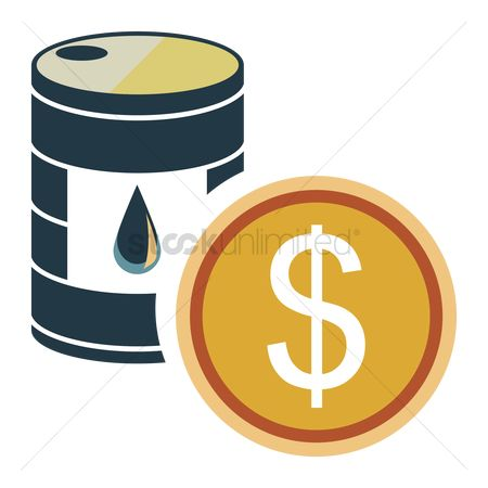 标签 : Oil drum with a money symbol