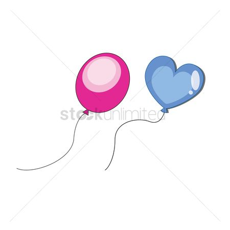 插图剪贴画 : Oval and heart shaped balloons