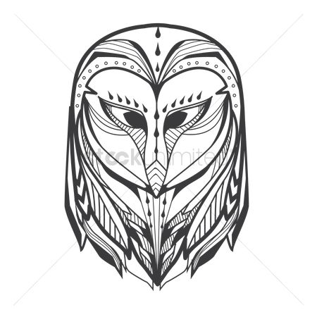 鸟类 : Owl monochrome design