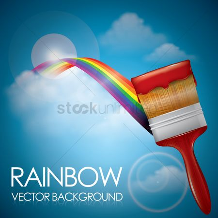 抽象化 : Paintbrush with rainbow background