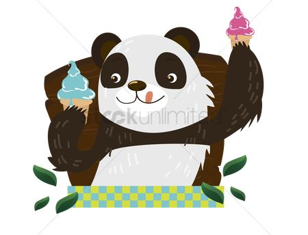 漫画 : Panda with ice-cream cone