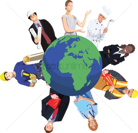 业务 : People from various professions around the world