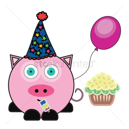 插图剪贴画 : Pig with party hat, balloon and cupcake