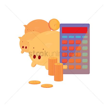 业务金融 : Piggy bank and calculator