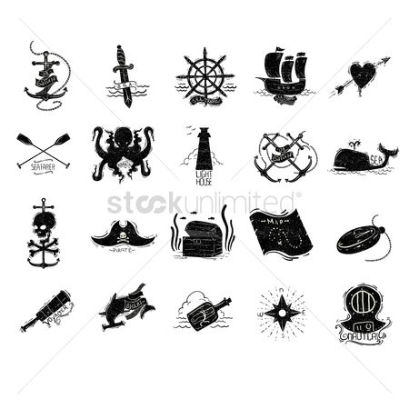 心脏 : Pirate and sea vectors