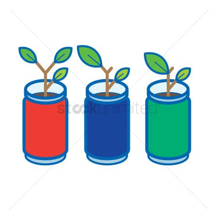 环境 : Plants growing in aluminium cans