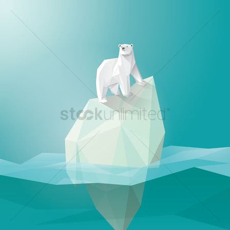 水 : Polar bear on iceberg