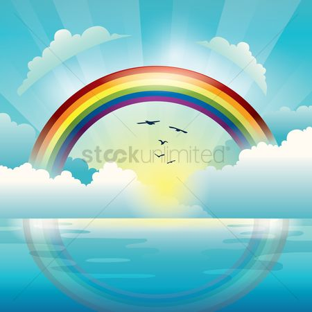 水 : Rainbow with sun and clouds