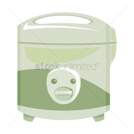 插图剪贴画 : Rice-cooker over a white background