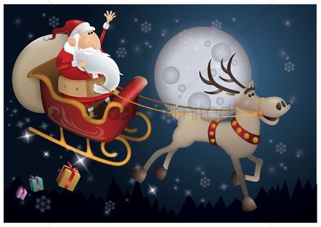 庆典 : Santa claus riding sleigh