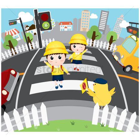 学校 : School children crossing the road