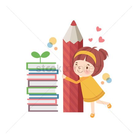 学校 : School girl hugging a pencil