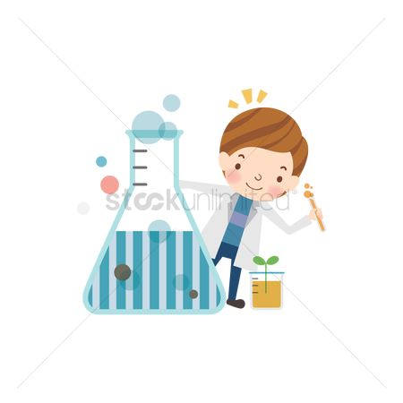 学校 : School girl with conical flask