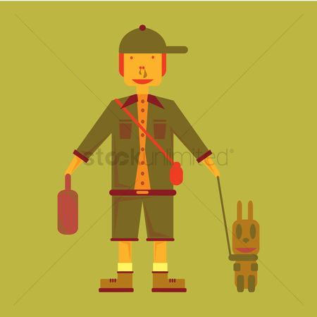 学校 : Schoolboy with pet dog