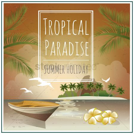 复古 : Seaside and island holiday poster