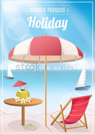 卡 : Seaside holiday poster