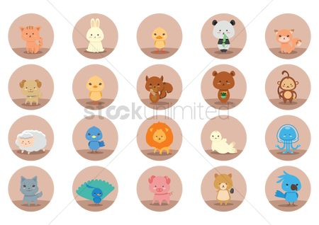 向量 : Set of animal icons