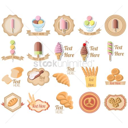 横幅 : Set of bakery icons