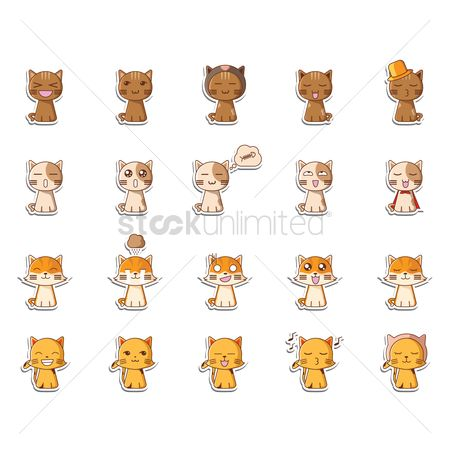 漫画 : Set of cat icons