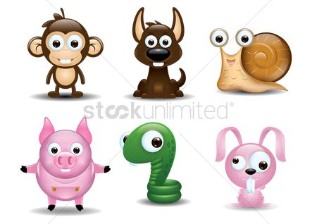 搜藏 : Set of cute animals