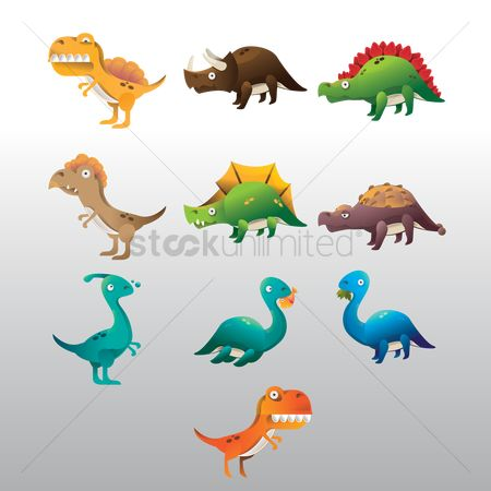 水 : Set of dinosaur icons