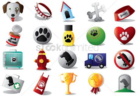 心脏 : Set of dog icons
