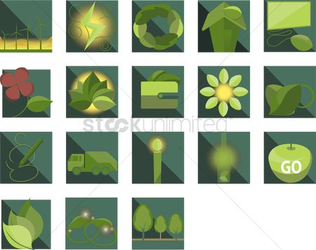 垃圾 : Set of eco green related objects