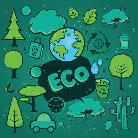 垃圾 : Set of eco icons