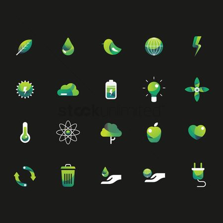垃圾 : Set of ecology icons