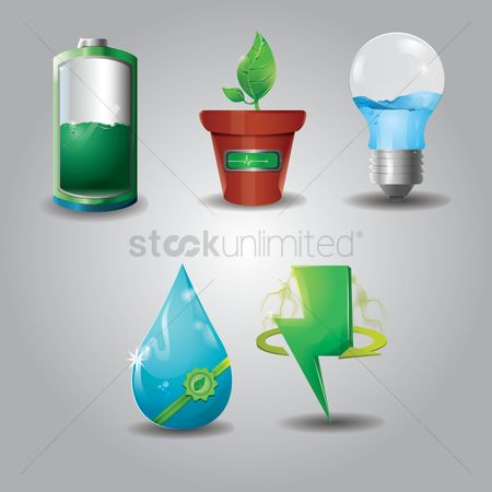 环境 : Set of ecology icons