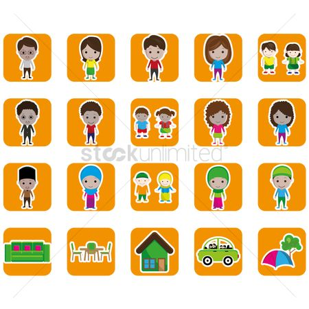 孩子 : Set of family and home icons