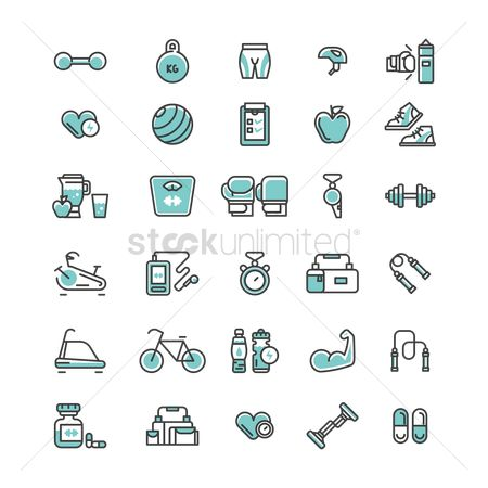体育 : Set of fitness icons