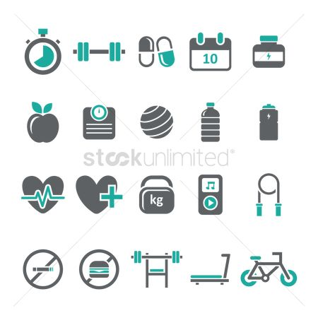 搜藏 : Set of fitness icons