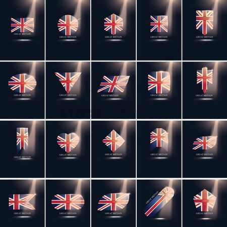 平方 : Set of great britain flag icons