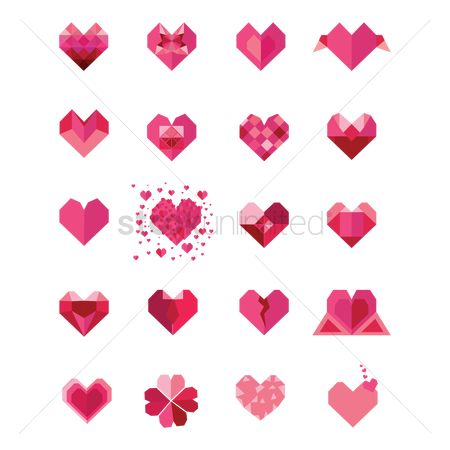 平方 : Set of heart icons