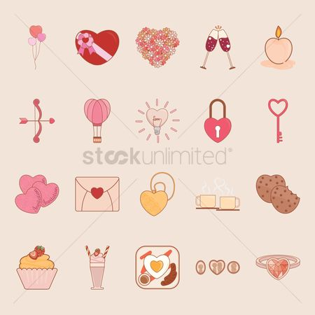 请帖 : Set of heart icons