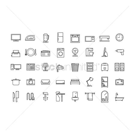 内饰 : Set of home appliance icons