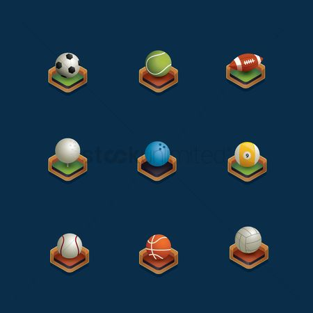 体育 : Set of isometric sports ball
