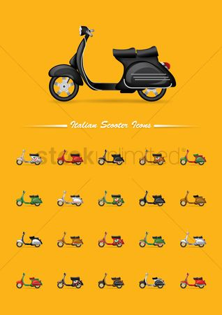 运输 : Set of italian scooter icons