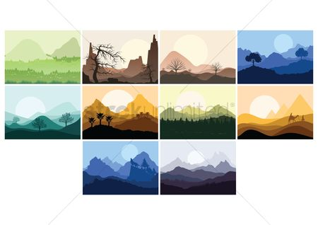 向量 : Set of landscape icons