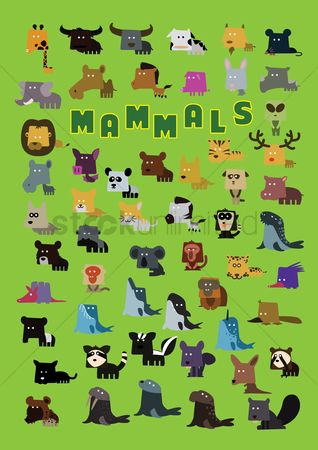 漫画 : Set of mammals icons
