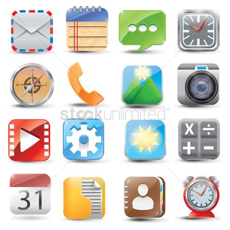 消息 : Set of mobile application icons